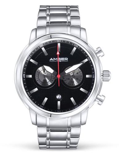 Amber Time Men's Quartz Chronograph Watch Stainless Steel Band 50m ATL160810-01BK Black