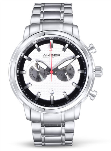 Amber Time Men's Quartz Chronograph Watch Stainless Steel Band 50m ATL160810-02WH White