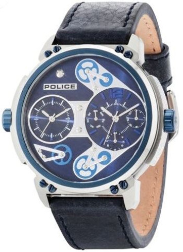 Police Steampunk Men's Gents Analog Dual Time Quartz Multifunction Watch With Date - PL-14693JSTBL-03