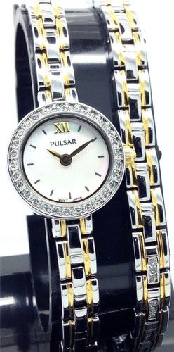 Pulsar Women's Ladies Watch and Bracelet Gift Set with Mother of Pearl Dial, Swarovski Elements - PEGG50X2 - Amber Trading