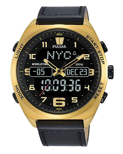 Pulsar Men's Analog-Digital Watch with World-Time and Leather Strap - PZ4042X1 - Amber Trading