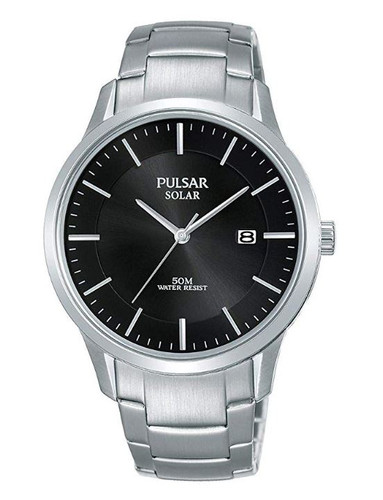 Pulsar Men's Analog Solar Watch with Date Stainless Steel Band Black Dial - PX3161X1