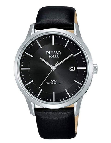 Pulsar Men's Analog Solar Watch with Date Black Leather Strap Black Dial - PX3163X1