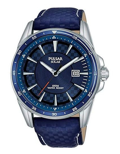 Pulsar Men's Analog Solar Watch with Date and Leather Strap Blue Dial - PX3205X1