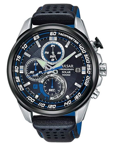 Pulsar Men's Analog Solar Chronograph Watch with Date and Leather Strap Black Dial - PZ6007X1