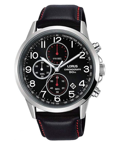 Lorus Men's Analog Quartz Chronograph Watch with Date and Leather Strap Black Dial - RM369EX8