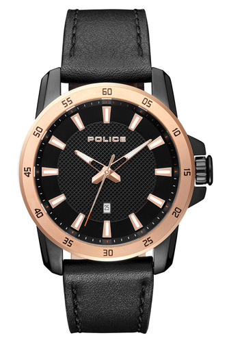 Police TROMSO Men's Quartz Watch Date Black Leather Strap Black Dial - 15526JSBR/02