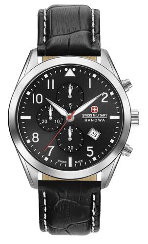 Swiss Military Hanowa Helvetus Chronograph Quartz Watch with Leather Strap 06-4316.04.007