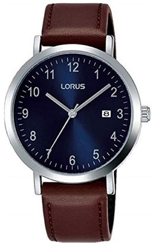 Lorus Men's Analogue Watch with Date & Brown Leather Strap RH939JX9