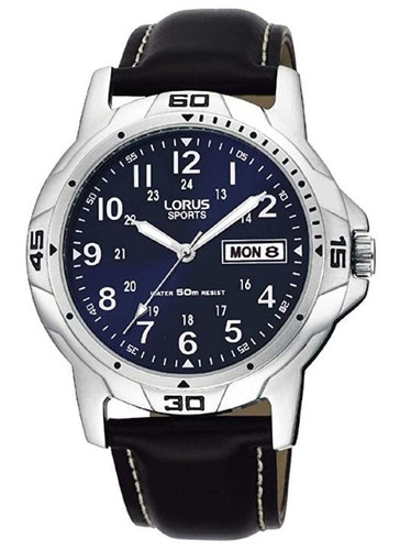 Lorus Men's Analogue Watch with Day/Date & Black Leather Strap RXN51BX9