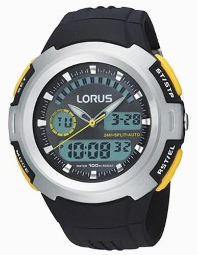 Lorus Men's Multifunction Analog Digital Display Watch with Black PU Strap R2323DX9