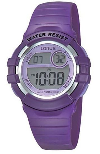 Lorus Girls LCD Digital Watch with Purple PU Strap R2385HX9