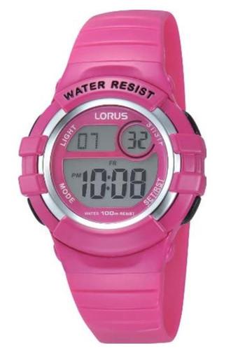 Lorus Girls LCD Digital Watch with Pink PU Strap R2387HX9