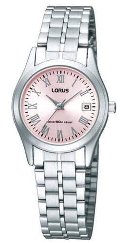 Lorus Women's Analogue Watch with Date Display, Stainless Steel Bracelet & Soft Pink MOP Dial RH731BX9