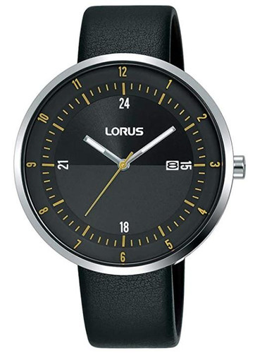 Lorus Men's Analogue Watch with Date Display, Black Leather Strap & Black Sunray Dial RH957LX9