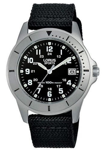 Lorus Men's Analogue Watch with Date Display, Black Nylon Strap & Black Dial RS935DX9