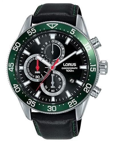 Lorus Men's Chronograph Quartz Watch with Black Leather Strap RM347FX9