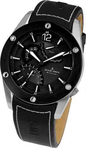Jacques Lemans Liverpool GMT 1-1739A Gents Genuine Leather Strap Multifunction Quartz Analog Watch