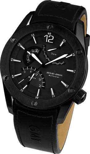 Jacques Lemans Liverpool GMT 1-1739F Gents Genuine Leather Strap Multifunction Quartz Analog Watch