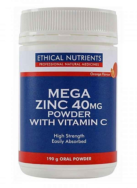 Ethical Nutrients Mega Zinc 40mg Powder with Vitamin C Raspberry Flavour 190G Ethical Nutrients SuperPharmacyPlus