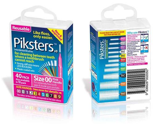 Piksters Interdental Brush Size 00 Pink - 40 Pack Erskine Dental SuperPharmacyPlus