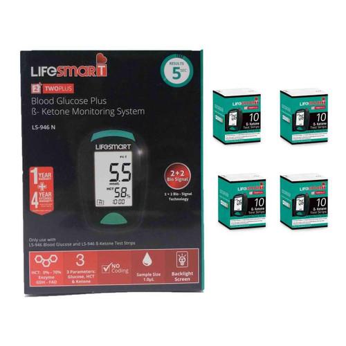 LifeSmart 2TwoPlus Ketone Testing Regular User Pack Meter 4 packs of Ketone test strips Genesis Biotech Pty Ltd SuperPharmacyPlus