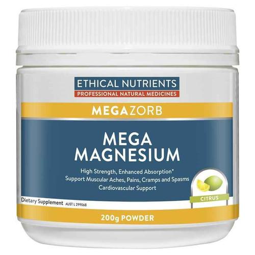 Ethical Nutrients Mega Magnesium Powder 200g Citrus Flavour Ethical Nutrients SuperPharmacyPlus
