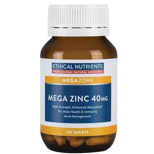 Ethical Nutrients Megazorb Mega Zinc 40mg 120 Tablets Ethical Nutrients SuperPharmacyPlus