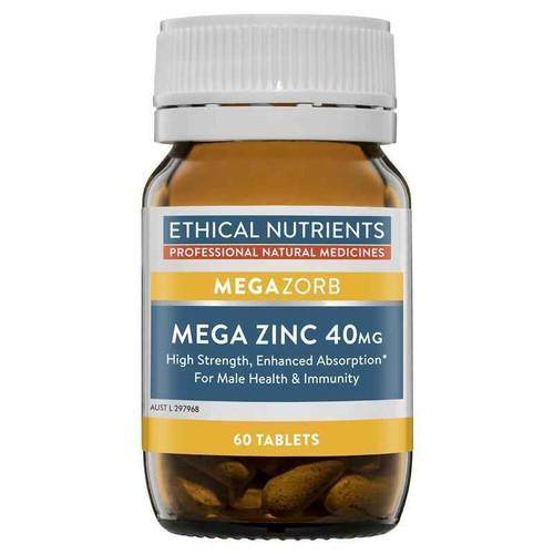 Ethical Nutrients Megazorb Mega Zinc 40mg 60 Tablets Ethical Nutrients SuperPharmacyPlus