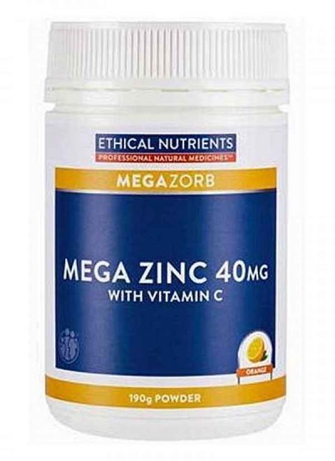 Ethical Nutrients MEGAZORB Mega Zinc 40mg Powder Orange 190g Ethical Nutrients SuperPharmacyPlus