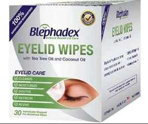 Blephadex Eyelid Wipes with Tea Tree Oil and Coconut Oil 30 Individual Towelettes Blephadex SuperPharmacyPlus