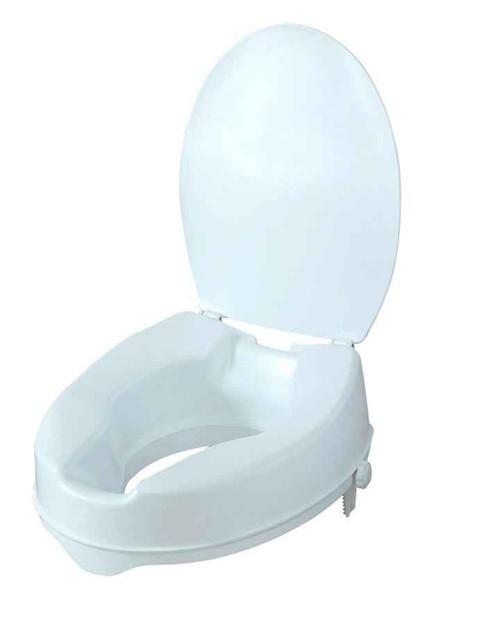 Aquasense Raised Toilet Seat with Lid 10cm or Wt Cap 136kg Aquasense SuperPharmacyPlus