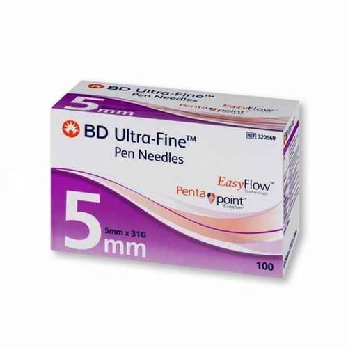 BD Ultra-Fine Pen Needles 0.25mm 31G x 5mm x100 BD SuperPharmacyPlus