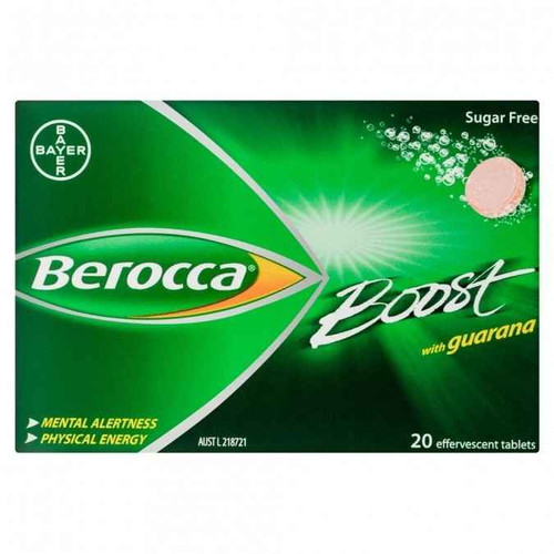 Berocca Boost Energy Vitamin With Guarana Effervescent Tablets 20 Pack Bayer SuperPharmacyPlus