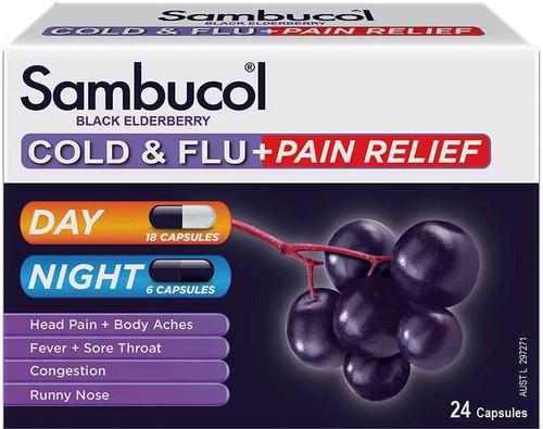 Sambucol Cold and Flu Pain Relief 24 Capsules PharmaCare Laboratories Pty Ltd SuperPharmacyPlus