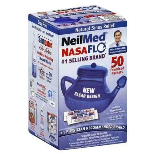 NeilMed NasaFlo Neti Pot with 60 Premixed Sachets NeilMed SuperPharmacyPlus