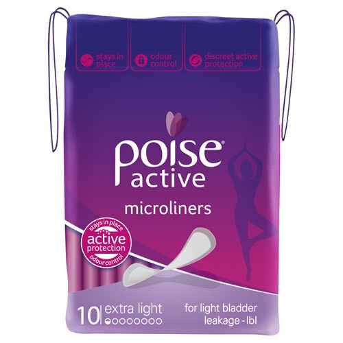 Poise Active Microliners Extra Light Absorbency 10 Pack Poise SuperPharmacyPlus