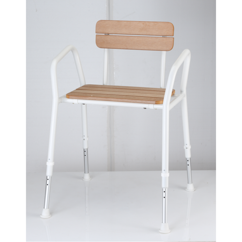 SHOWER CHAIR C45-T HD TIMBER LOOK MaxMobility SuperPharmacyPlus