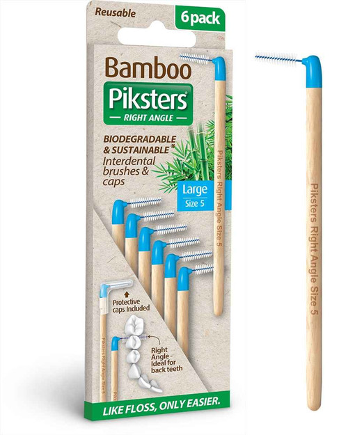 Piksters Bamboo Right Angle Brush Size 5 Large - 6 Pack Erskine Dental SuperPharmacyPlus