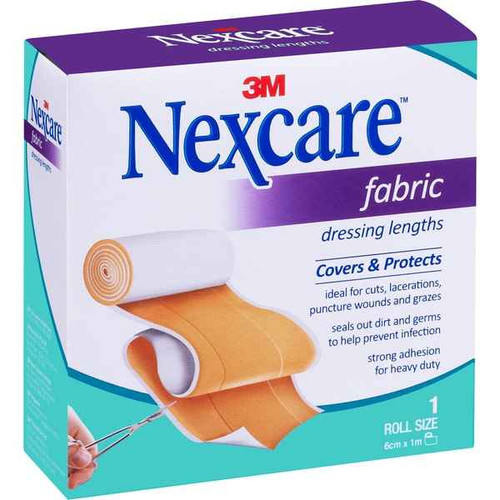 Nexcare Dress Fabric Strip Tan 6cm x 1m Nexcare SuperPharmacyPlus