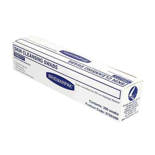 Briemar Skin Cleansing Alcohol Swabs with 70percent IPA 200 Pack Briemar SuperPharmacyPlus