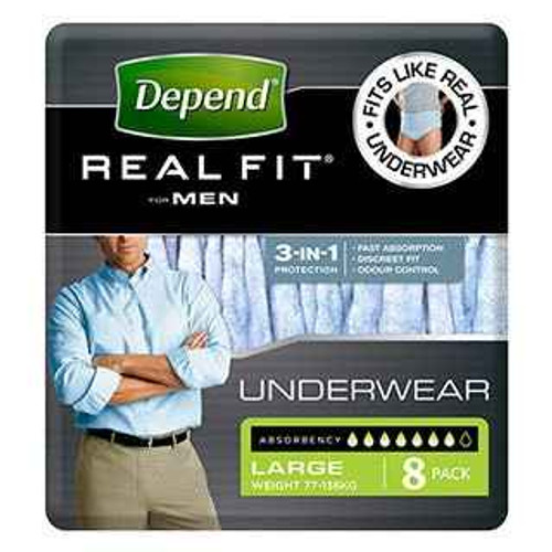 Depend Real-Fit Underwear for Men Large 8 Pack Depend SuperPharmacyPlus