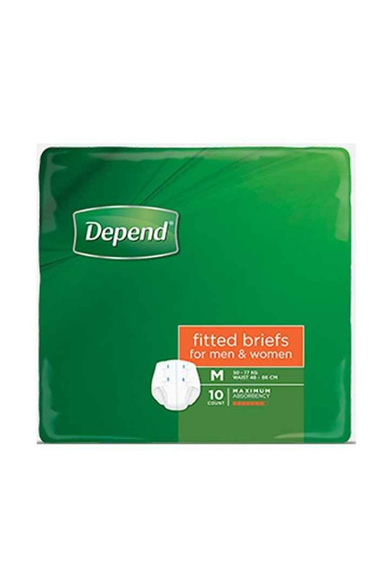 Depend Fitted Briefs for Men and Women Medium 10 Pack Depend SuperPharmacyPlus