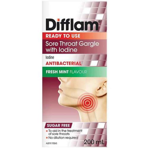 Difflam Sore Throat Gargle with Iodine 200ml iNova SuperPharmacyPlus
