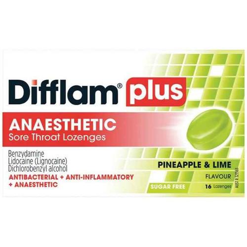 Difflam Plus Anaesthetic Pineapple and Lime 16 Lozenges iNova SuperPharmacyPlus