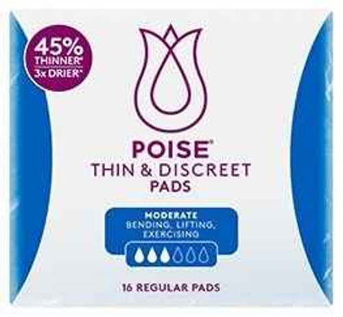 Poise Thin and Discreet Pads - 16 Regular Pads Poise SuperPharmacyPlus