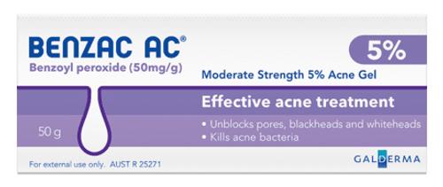 Benzac AC Gel 5percent 60g Galderma Australia Pty Ltd SuperPharmacyPlus