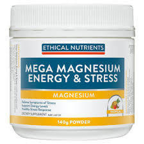 Ethical Nutrients Mega Magnesium Energy and Stress 140g Powder Tropical Ethical Nutrients SuperPharmacyPlus