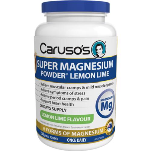Carusos Super Magnesium Powder Lemon Lime 250g Carusos SuperPharmacyPlus