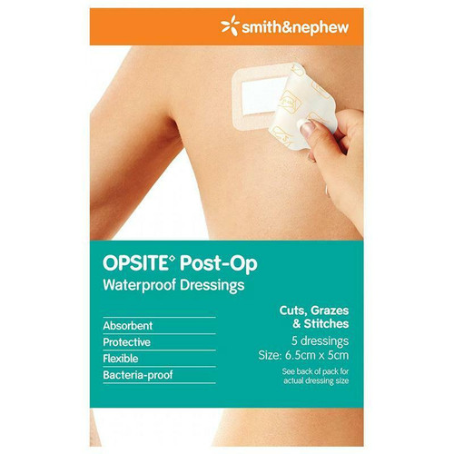 Opsite Post-Op Dressing 6.5cm x 5cm 5 Pack Smith and Nephew SuperPharmacyPlus